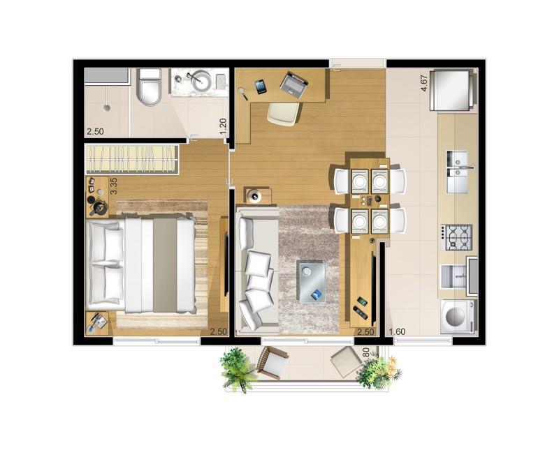 Planta baixa apartamento Tipo 1 dormitório de 37,39 m²