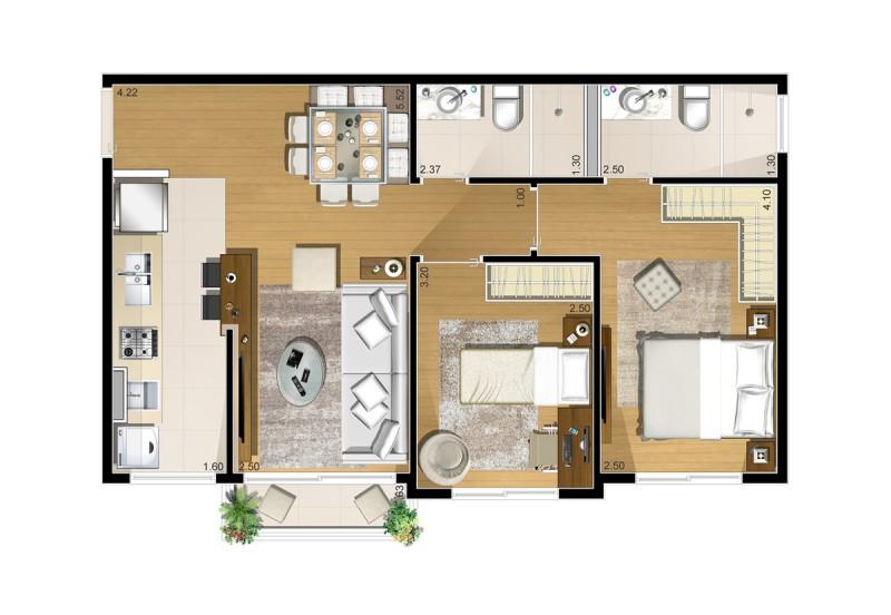 Planta baixa apartamento Tipo 2 dormitórios de 59,02 m²